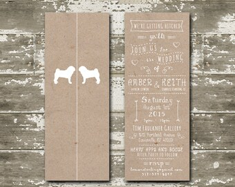 Rustic tri-fold card with whimsical fonts & icons on a kraft paper background.