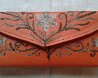 Orange Leather Embroidered Wallet