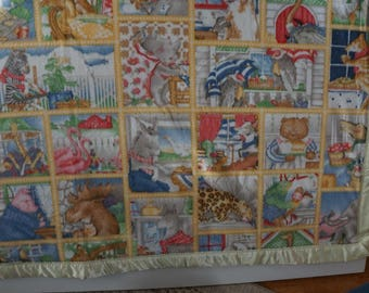 Unique Handmade Zoo Baby Blanket Double thick baby blanket heirloom baby blanket
