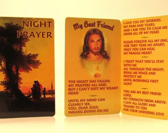 """Night Prayer """"My Best Friend"""" Pocket Prayer Card/Venice~Calming Christian Gift for Terminal Illness, Anxiety, Disabled, Infirm, Depression"""