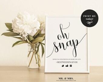 Oh Snap! Hashtag Sign, Share the Love Sign, Wedding Hashtag Sign, Editable Template, Wedding Printable, Instagram Wedding Sign, MAM208_02