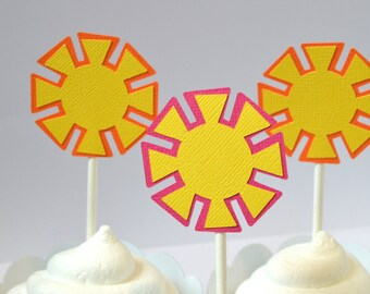 Sunshine Cupcake Toppers Hot Pink, Yellow & Orange By The Dozen 12