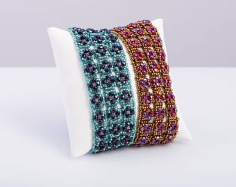 La Piazza Bracelet Pattern using Seed Beads and 3mm Fire Polish - PDF Tutorial Beading