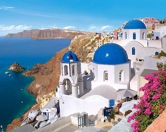 "Counted Cross Stitch Pattern landscape ""Santorini (Greece)"""