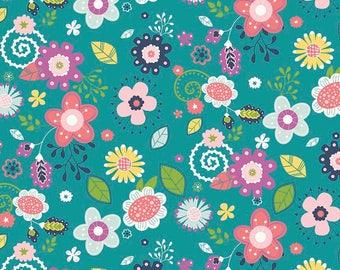 Riley Blake - Main Teal - Enchanted by Dodi Lee Poulsen (C5680-TEAL) - Floral