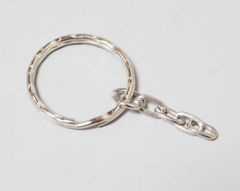 """25 New Key Ring with Chain 1"""" Split Ring Hammered Key Rings K30-25"""