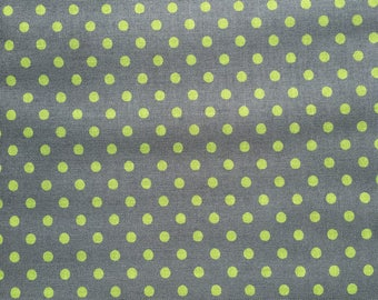 Polka Grey (Green Spots) by Sevenberry - Cotton Fabric
