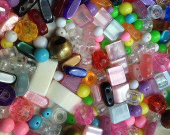 Destash Plastic Beads Mixed Bead Lot Supplies DIY Colorful Collection