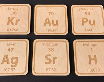 Periodic Table - Coasters - Science - Geeky - Birthday Gift