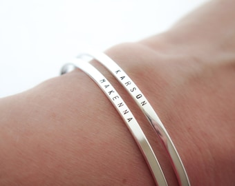 Skinny Sterling Silver Bangle Bracelet Jewelry - Custom Stamped Gift for Her Personalized - Hand Stamped by Betsy Farmer Designs
