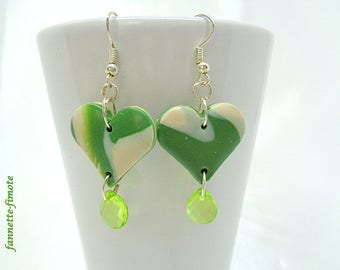 "Earrings polymer clay ""Heart + Perle Goutte"" khaki and Beige - handmade"