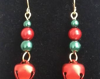 Red and Green Jingle Bell Earrings