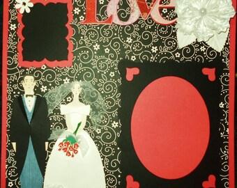 Wedding Love Bride Groom 12x12 Premade Scrapbook Page