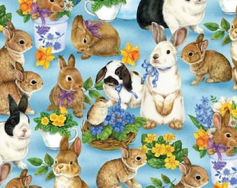 Bunnies Rabbits Multi Floral Garden Gathering Blue Background Cotton Quilting Fabric 1/2 YARD *Matching Fabric Links are in Description*