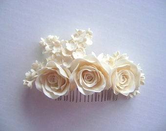 Bridal Ivory Hair Piece - Wedding Hair Piece -Made to Order