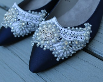 Gatsby Pointed Toe Ballet Flat Wedding shoes