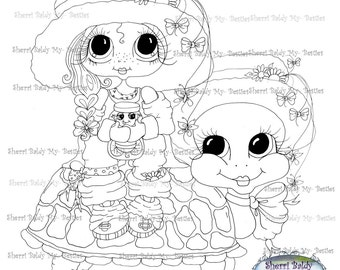 INSTANT DOWNLOAD Digi Stamps Big Eye Big Head Dolls Digi Bestie Turtle Ride By Sherri Baldy