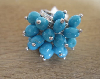 Sterling Silver Natural Turquoise Beads Cha Cha Ring Size 7-7.25 (1319)