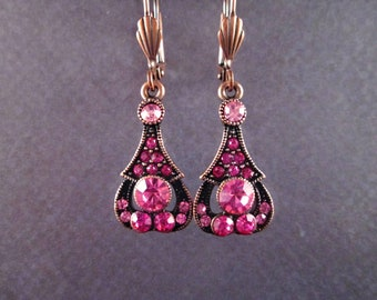 Rhinestone Earrings, Victorian Grace, Pink Glass Rhinestones and Copper Dangle Earrings, FREE Shipping U.S.