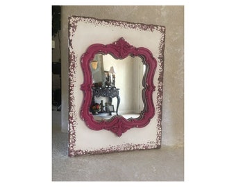 """Shabby Chic Distressed Pink & White Mirror Wall Decor 14"""" x 10"""""""