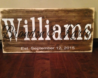 Last Name Sign/Established Sign/Mom Rustic Wood Sign/ Mother's Day Gift/ Gift for Mom/ Rustic Wood Sign with Flowers