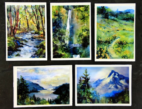 Columbia Gorge Magnets #6 - Bonnie White watercolor magnets - 5 2 1/2 x 3 1/2 signed magnets