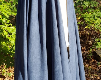 Navy Blue Long Cloak - Full Circle Microsuede Medieval Renaissance Cape with Hood - Interchangeable Leather Detail Clasp