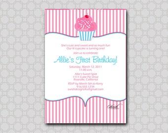 Cupcake Birthday Party Invitation - Digital Birthday Invite - printable party