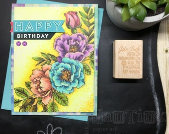 Happy Birthday Beautiful Floral Fancy Greeting Card Handmade in Yellow Aqua Purple Peach Green for Wife Girlfriend Sister Mom Daughter Aunt