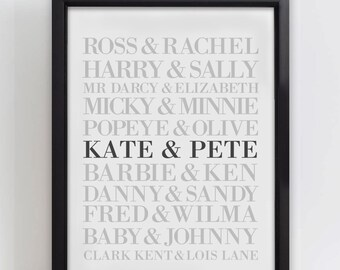 Personalised Couples Wedding Anniversary Print