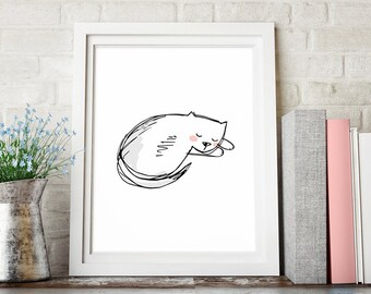 Sleeping Cat Art Print, Sketch Art, Nursery Decor, Printable Art, Black White Gray Coral Pink, Wall Art, Minimalist Poster, Digital Download