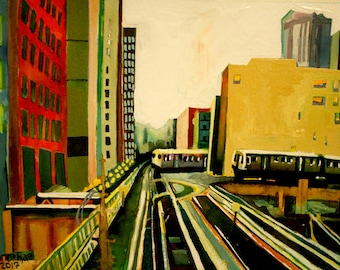 CTA Red Line Print of Original Watercolor Painting