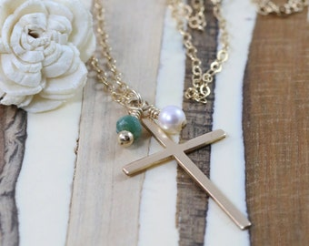 Long Cross Necklace- Cross Necklace- Layering Necklace- Long Necklace- Layered Necklace- Long Layered Cross Necklace- Gemstone Necklace