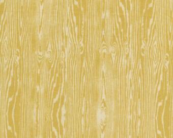 1 Yard JOEL DEWBERRY Aviary 2 Woodgrain / Vintage Yellow  FreeSpirit Fabric