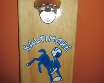 Retro Baltimore Colts Wooden Bottle opener with magnetic cap catcher bottle cap catching opener