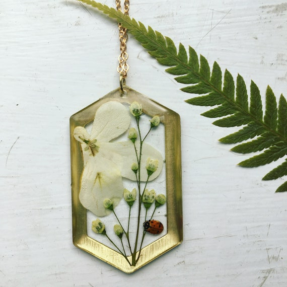 wild viburnum and ladybug brass hexagon necklace