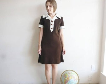 50% OFF Vintage MOD Brown Wool Dress/60s 70s Dress/Small Medium
