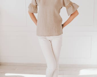 Linen Blouse For Women/ Undyed Flax Shirt/ Short Sleeves/ Natural Top/ Handmade Top/ Shirt/Linen Fashion/ Loose Fit/ Pure Linen/Gift For Her