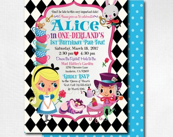 Alice in Onederland 1st Birthday Invitations, Mad Hatter Tea Party, Alice in Wonderland theme, Alice Tea Party Birthday, DI-579FC