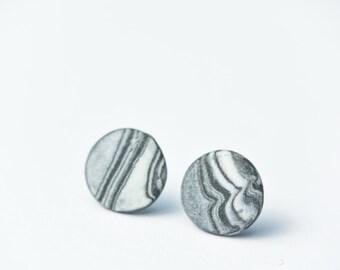 Ceramic Earrings, Porcelain Jewelry, Marble Stud Earring, Ceramic Stud, Marble Earrings, Flat Earrings, Minimal Earrings, Round Stud Earring