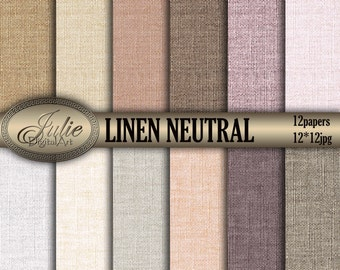 Linen digital paper Neutral linen digital papers Linen background Canvas digital background Linen texture paper earth Linen paper scrapbook