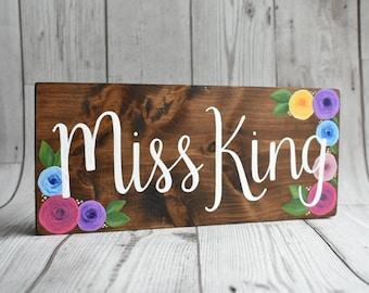 Handmade Teacher's Name Rustic Wood Desk Sign // Teacher's Gift // Desk Name Sign