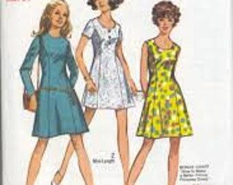 Simplicity 8886, Vintage, Princess Seams, Dress, Junior, Teens, Mini, Long Sleeve, Short Sleeve, Sleeveless, Sewing Pattern, Size 9