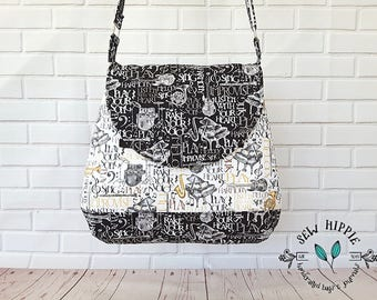 Shoulder Bag, Music Hobo Bag, Crossbody Music Bag, Women's Bag, Fabric Handbag, Crossbody Hobo, Gift for Musician, Gift for Music Lover
