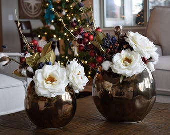 Boho Holiday Floral Arrangement Faux Flowers - Large