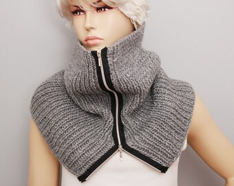 Grey modern look zippered knit  neckwarmer in grey , knit loop scarf  , winter scarf, woman winter scarf ,CHOOSE A COLOR