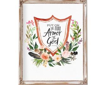 Armor of God,  Scripture Wall Art, Bible Verse Wall art, Printable Scripture, Scripture art, Ephesians 6:10, inspirational gift, Printable
