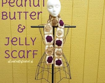 Crochet Peanut Butter & Jelly Scarf