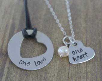 one love, one heart sterling silver hand stamped couples necklace set, couples jewelry, his and her necklace set by miss ashley jewelry