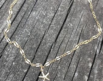 Ankle Bracelet, Anklet, Boho Anklet, Beach Anklet, Gold Anklet, Starfish Anklet, Boho Jewelry, Beach Jewelry, Body Jewelry, Starfish Jewelry